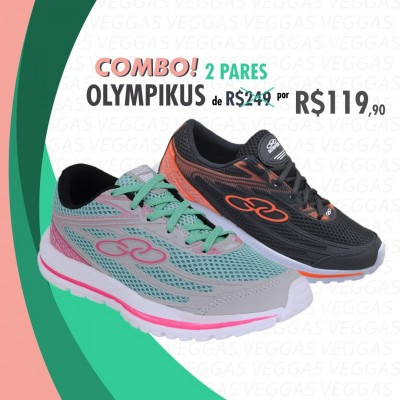 Combo Olympikus Starter Verde com rosa + Preto com laranja