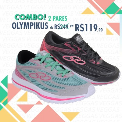 Combo Olympikus Starter Verde com rosa + Preto com Rosa