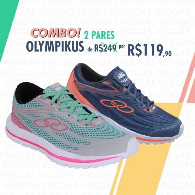 Combo Olympikus Starter Verde com rosa + Azul com laranja